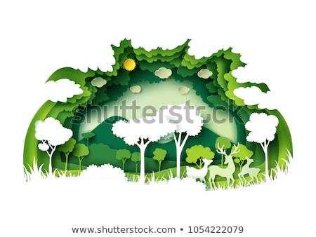 desenho · animado · papel · paisagem · veado · ilustração · vetor - foto stock © rwgusev