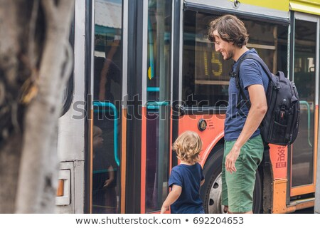 Father and son going to go by bus in Hong Kong Stock photo © galitskaya
