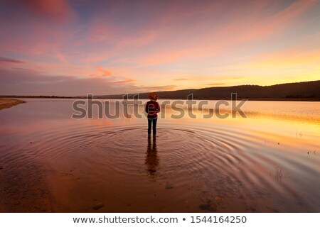 Glorious sunset with water reflections in rural Australia Stock photo © lovleah