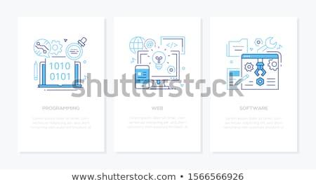 online · Unterstützung · linear · Gliederung · Stil · Vektor - stock foto © decorwithme