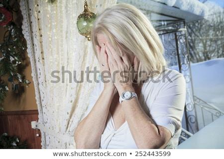 figyelmes · idős · nő · ablak · áll · otthon - stock fotó © lopolo