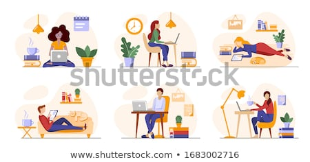 Woman Working on Laptop Sitting on Books Vector Stock photo © robuart