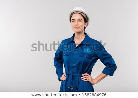 Mooie jonge geslaagd vrouwelijke ingenieur Blauw Stockfoto © pressmaster