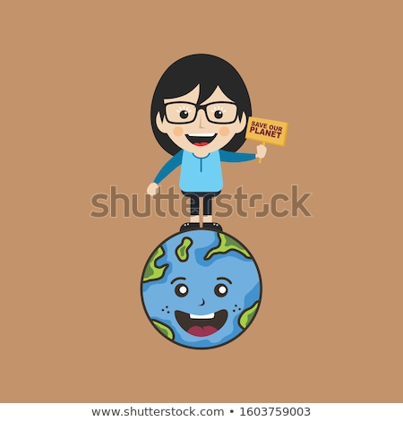 female holding sign save earth global warming campaign Stock photo © vector1st