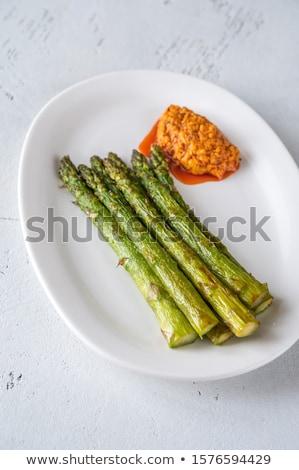 Kuşkonmaz sos beyaz plaka gıda Stok fotoğraf © Alex9500