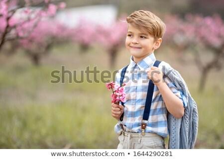 Erkek buket çiçekler eller mesafe Stok fotoğraf © ElenaBatkova