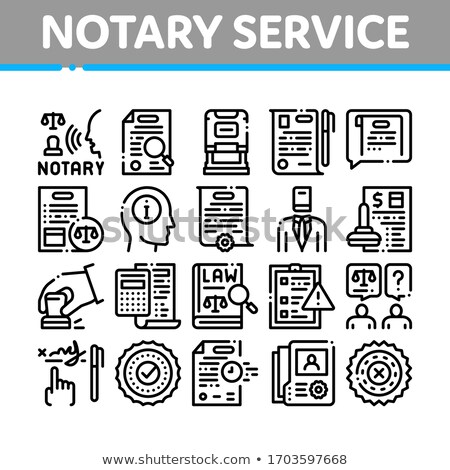 Notary Service Agency Collection Icons Set Vector Stock photo © pikepicture