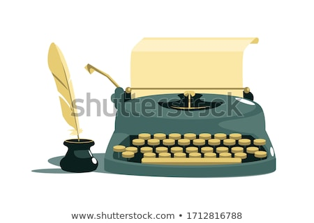 Vintage stylish typewriter with paper and feather Stock photo © jossdiim