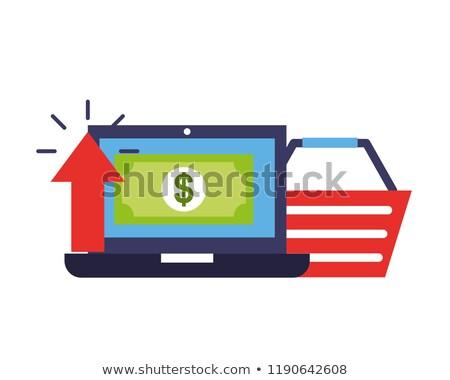 laptop basket banknote upload online shopping Stock photo © yupiramos