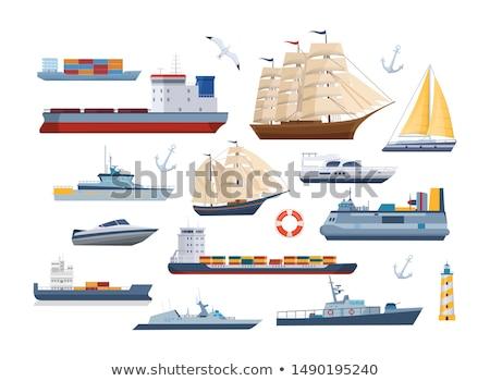 Modern Yachts and Sailboats Vector Illustration Stock photo © robuart