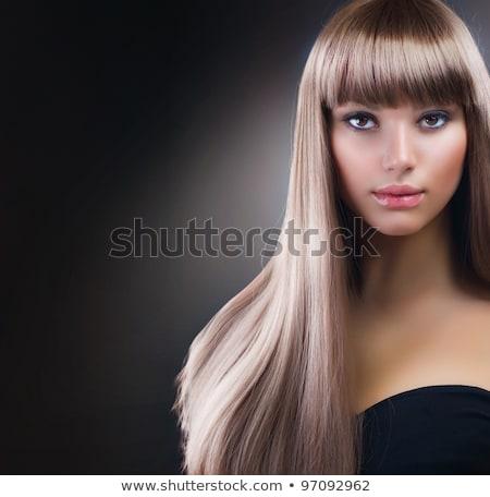 Szőke nő sötét szemhéjfesték gyönyörű haj Stock fotó © lubavnel