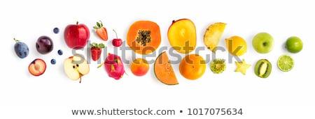 bastante · menina · alimentação · frutas · salada · de · frutas · saudável - foto stock © anna_om