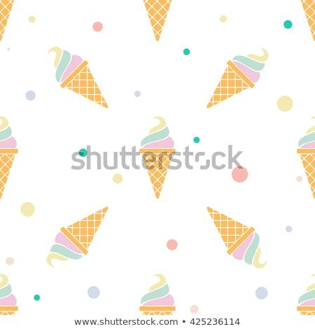 Casquinha de sorvete morder isolado profundo blue sky chocolate Foto stock © SimpleFoto
