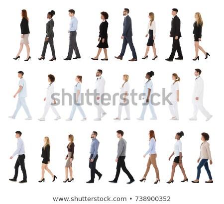 collage · personas · caminando · línea · diferente · blanco - foto stock © paha_l