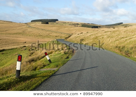 Narrow rural road B4519 on the Mynydd Epynt in mid Wales. Stock photo © latent