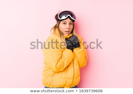 woman wearing helmet looking disgusted Stock photo © photography33