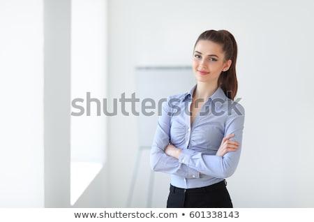 femme · d'affaires · yoga · isolé · blanche · affaires · bureau - photo stock © kurhan