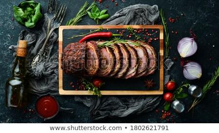 Pörkölt sült borjúhús finom étel kéz Stock fotó © mythja