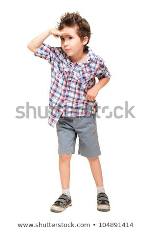 huncut · szőrös · kicsi · fiú · rövidnadrág · póló - stock fotó © pekour