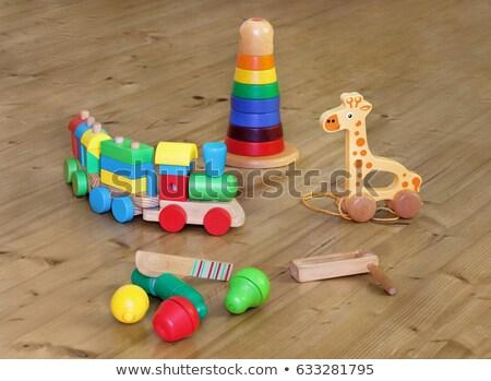 Toren houten speelgoed blokken witte huis hout Stockfoto © Taigi