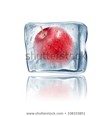 Ice · Cube · rode · appel · geïsoleerd · witte · abstract · licht - stockfoto © Givaga