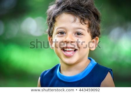 ストックフォト: 夏 · 緑の草 · 顔 · 幸せ · 自然