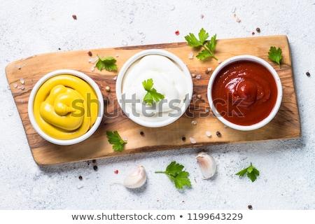 mayonesa · frescos · salsa · tazón · mesa · huevo - foto stock © m-studio