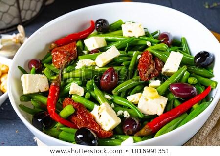Tazón ejotes tomate alimentos madera fondo Foto stock © M-studio