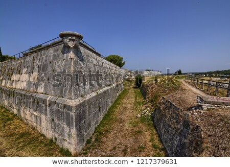 Castle in Pula, Fortification Wall Detail, Istria, Croatia Stock photo © anshar