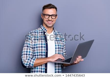 ストックフォト: クローズアップ · 男 · ノートパソコン · ビジネス · 技術