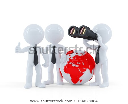 group of businesspeople with globe and binoculars stock photo © kirill_m