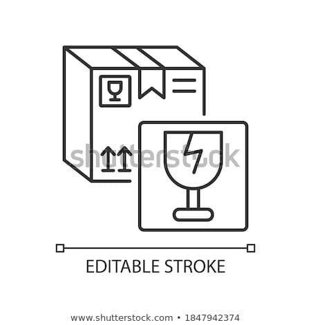 fragile · Inhalt · Weinglas · braun · Geschenkpapier · Warnung - stock foto © stocksnapper