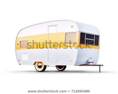 Caravana 3d render um branco em pé natureza Foto stock © Elenarts