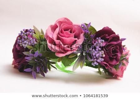 portré · fiatal · lány · virág · korona · tulipánok · liliom - stock fotó © mrakor