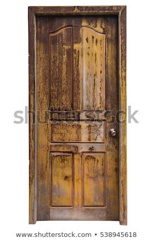 Stock fotó: öreg · ajtó · fából · készült · akasztás · zár · ház