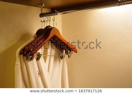 Fehér fából készült hotel ruhásszekrény pár szolgáltatás Stock fotó © punsayaporn