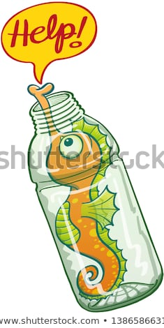 The Word Help Enclosed In A Bottle Foto stock © zooco
