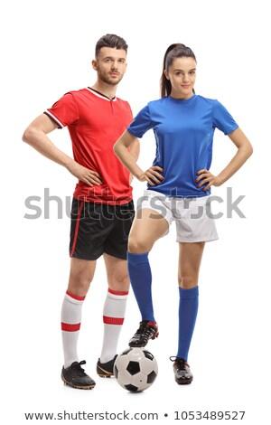 Portret jonge sport vrouw voetbal grijs Stockfoto © deandrobot