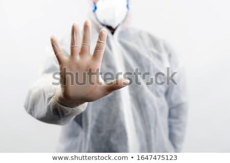 Vegyi tudós mutat stoptábla gesztikulál kéz Stock fotó © stevanovicigor