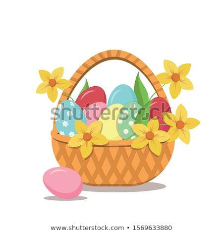 Húsvét kosár tojások fehér tavasz tojás Stock fotó © Pruser