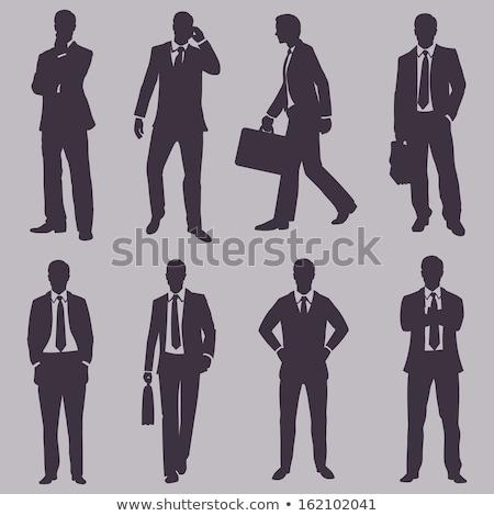empresário · em · pé · canto · homem · parede - foto stock © feedough