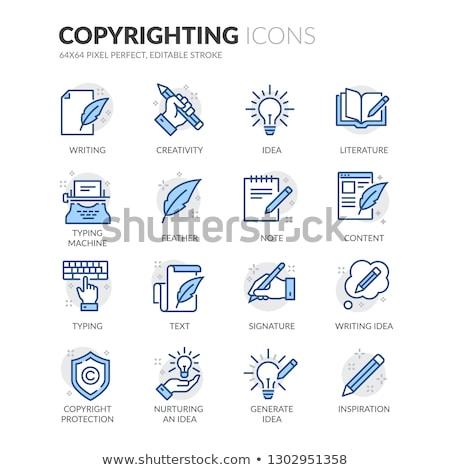 Auteursrecht Blauw icon illustratie ontwerp 3D Stockfoto © nickylarson974