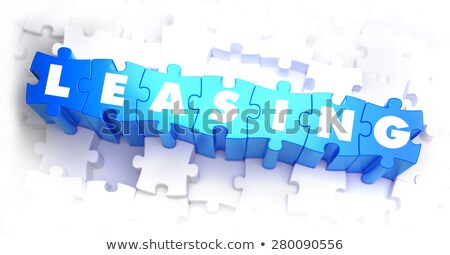Kiralama metin mavi beyaz 3d render finansal Stok fotoğraf © tashatuvango