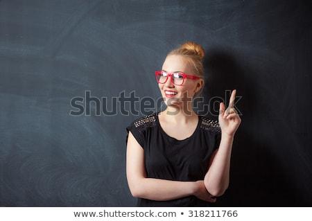 kadın · işaret · parmak · yukarı · bo - stok fotoğraf © deandrobot