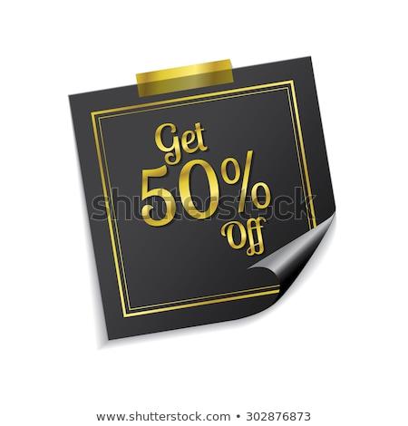 get 50 percent golden sticky notes vector icon design stock photo © rizwanali3d