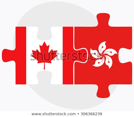 Canada Hong-Kong Chine drapeaux puzzle isolé Photo stock © Istanbul2009