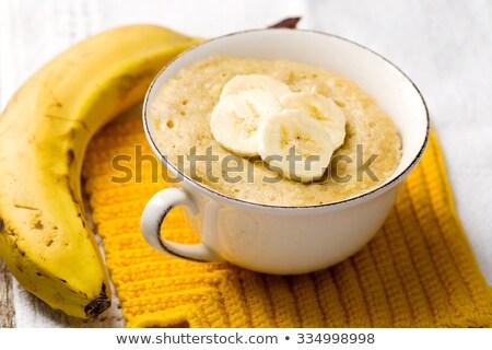 Banana Mug Cake Prepared In Microwave Stok fotoğraf © zoryanchik