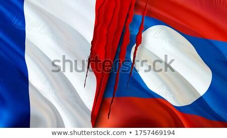 Frankrijk Laos vlaggen puzzel geïsoleerd witte Stockfoto © Istanbul2009