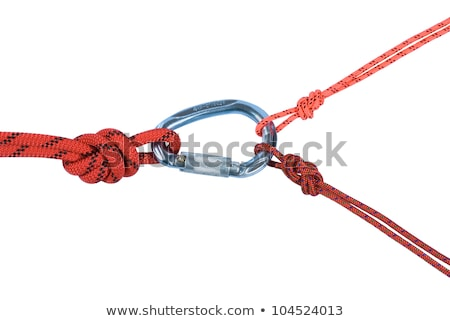 Climbing on Blue Carabine with White Ropes. Stock photo © tashatuvango