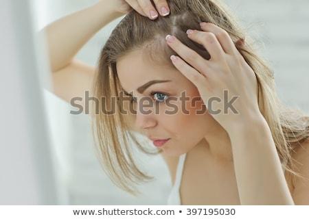 mooie · brunette · vrouw · haardroger · portret · meisje - stockfoto © hsfelix